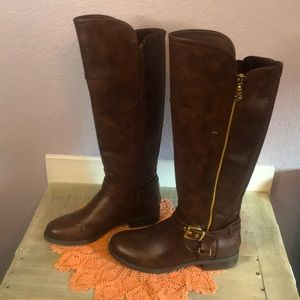EUC Guess Tall Brown Riding Boots Size 7.5